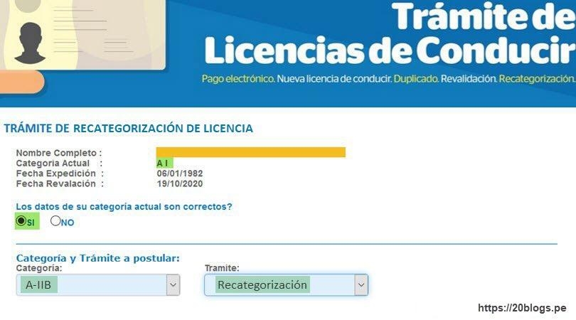 recategorizar la licencia de conducir paso3