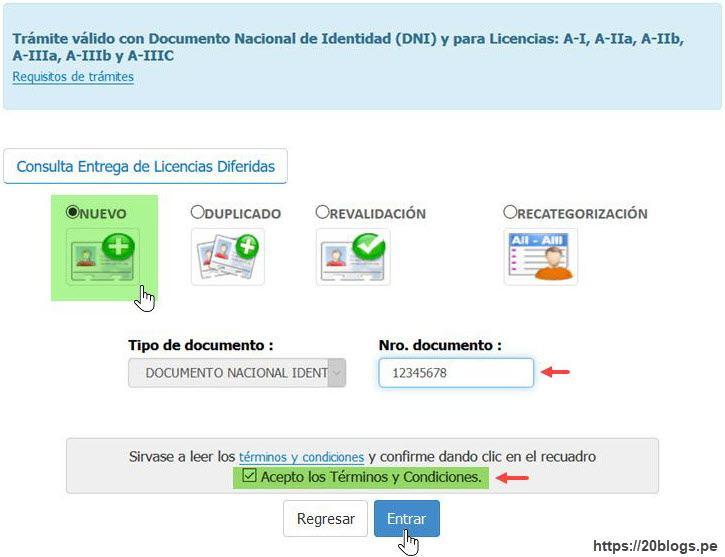 solicitar emision de licencia por internet paso2